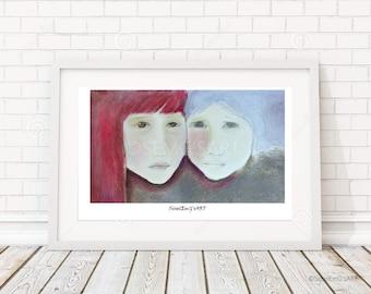 Sisters on earth - Original pastel art, signed