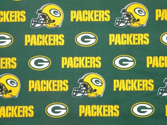 Green Bay Packers Fabric Helmets Green Background White Yellow Etsy