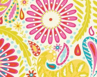 Dena Designs fabric Kumari Garden Sanjay DF95 pink green white yellow blue gray paisley floral quilting sewing crafts 100% cotton per yard