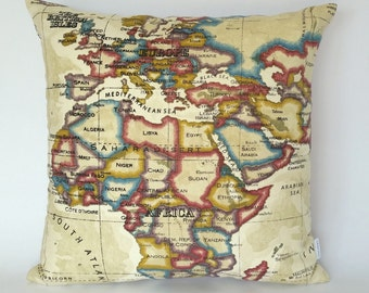 Cushions australia etsy europe and africa map cushion cover antique map pillow uk and europe map south african map vintage look fabric map world map fabric gumiabroncs Images