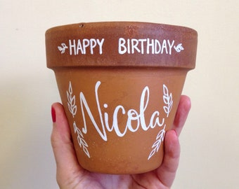 Calligraphy Terracotta Pots - Happy Birthday - Personalised Gift - Plant Lover - Hand-lettered