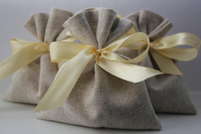 Wedding Favor Bags Set of 130 Oatmeal Grey Linen Favor Bags