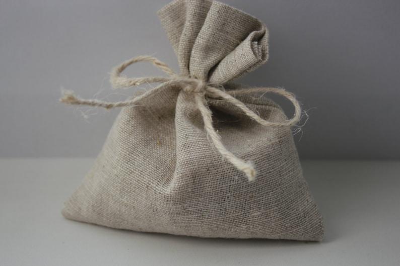 Oatmeal Grey Linen Favor Bags Wedding Favor Bags Set of 50