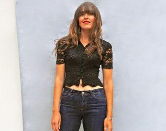 Vintage 80s Black Lace Blouse, Short Sleeve Beaded Lace Shirt