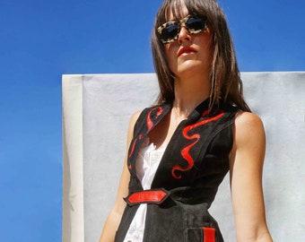 Vintage 60s Long Black Leather Waistcoat, Snake Charmer Suede Jacket