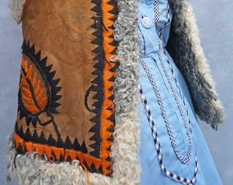 Vintage Boho Penny Lane Vest, 60s Embroidered Shearling Sheepskin Vest