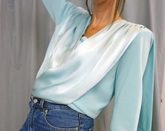 Vintage 80s Blue Satin Wrap Blouse, Satin Scarf Evening Jacket
