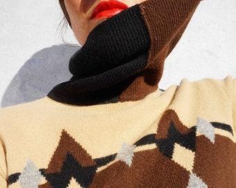 Vintage 80s Striped Turtleneck Sweater, Soft Wool Sweater