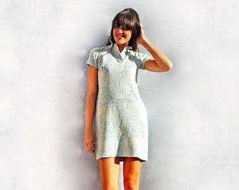Winter Wool Dress, Vintage 60s Sweater Dress, Blue Wool Dress, Wool Shift Dress, Floral Wool Dress, Winter Floral Dress, Eco Friendly Gift,
