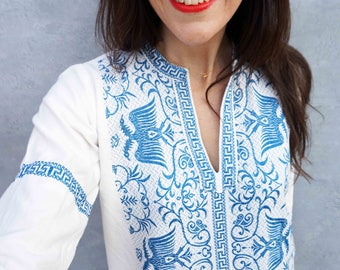 Embroidered Kaftan, Vintage Kaftan, Bohemian Dress, Embroidered Dress, White Cotton Dress, Caftan Dress, Ethnic Dress, Long Sleeve Dress