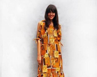 Boho Tribal Dress, Vintage 1970s Dress, Orange Dress, Floral Dress, Summer Dress, Hippie Dress, Bardot Dress, Festival Dress, Bohemian Dress