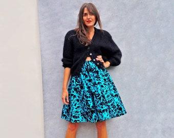 80s Metallic Blue Cocktail Skirt, Vintage High Waist Full Jacquard Skirt