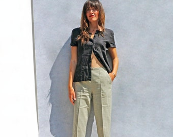High Waisted Grey Check Pants, Smart Lightweight Plaid Trousers