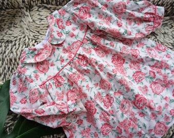 Vintage Girls 1990s Pink Floral Dress, Baby Girls Cotton Summer Dress