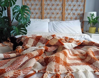 Vintage Chunky Knit Blanket, Boho Tartan Tassel Throw Blanket