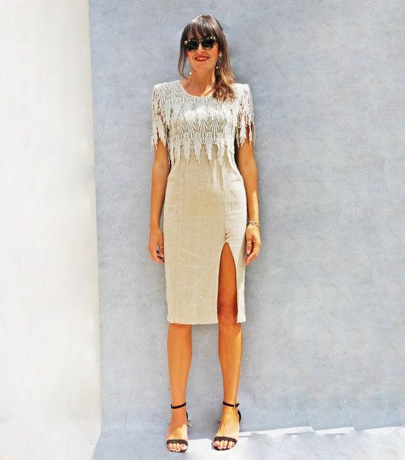 Vintage Linen + Lace 80s Day Dress, Beige Linen W… - image 1