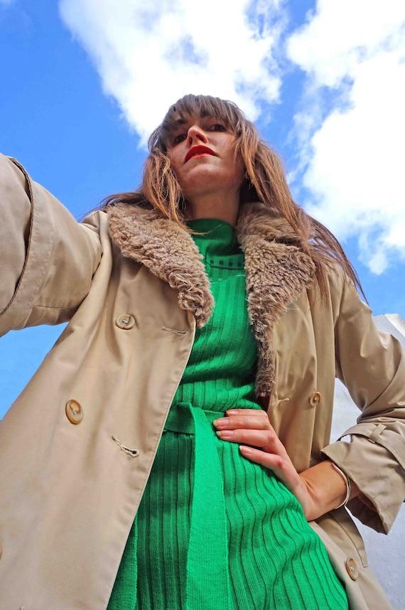 Vintage Faux Fur Collar Trench Coat, Long Spring C