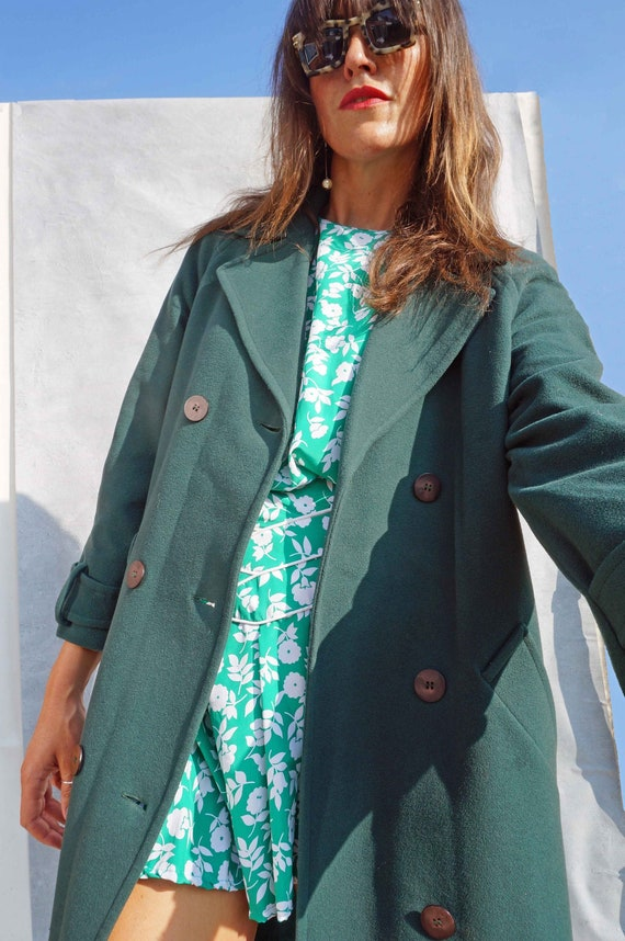Vintage Cashmere Wool Green Winter Coat, Long Over
