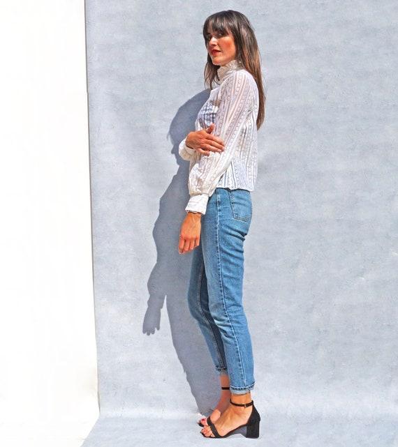 Vintage 50s White Lace Blouse, Ruffle Neck Victor… - image 8