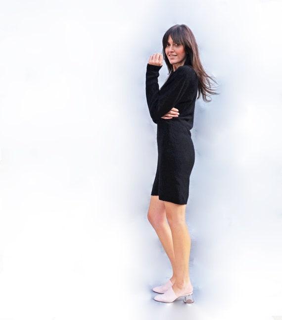 7b04c28e15ac5 Black Wool Dress Wool Jumper Dress Vintage 80s Dress