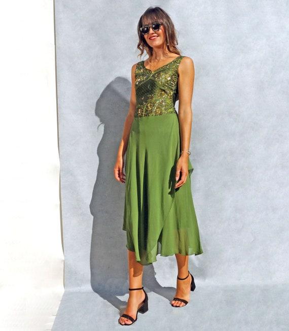 Floor Length Olive Green Beaded Evening Dress