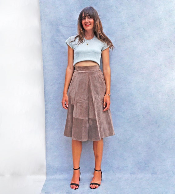 Vintage High Waisted Brown Suede Skirt, 80s A-line
