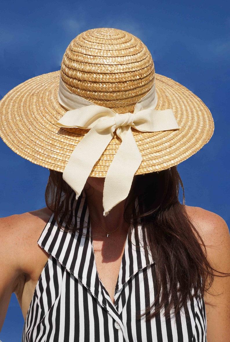 fb528a60 Wide Brim Vintage Straw Hat | Etsy