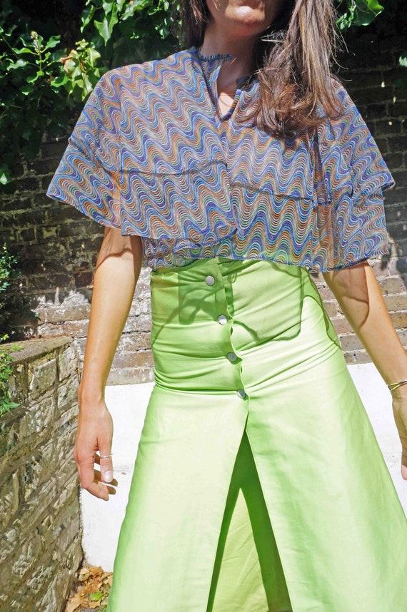 Vintage 70s Boho Sheer Ruffled Blouse, Fairycore F