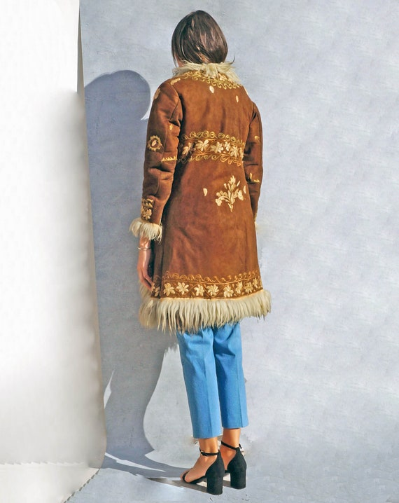 Vintage Embroidered Shearling Sheepskin Coat, 60s… - image 6