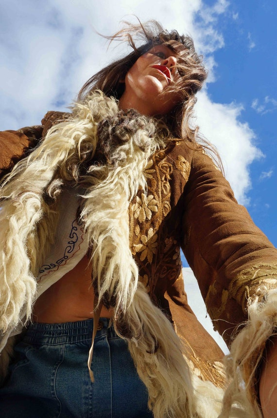 Vintage Embroidered Shearling Sheepskin Coat, 60s… - image 3