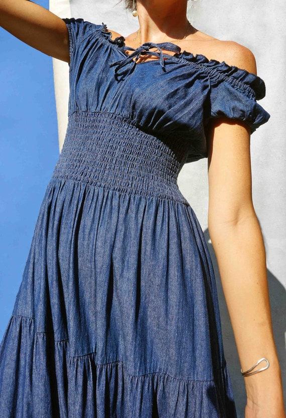Long Vintage Shirred Denim Dress, 90s Tiered Denim