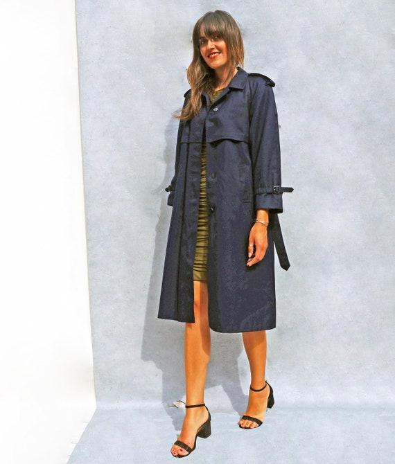 Navy Blue Cotton Trench Coat, Vintage 1980s Women… - image 2