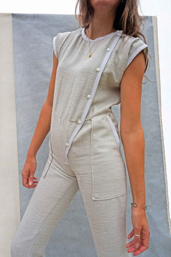 Vintage 80s Casual Grey Jumpsuit, All In One Cotto