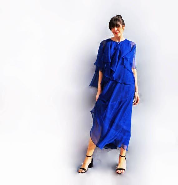Jean Varon Long Blue Cocktail Dress, Layered Float