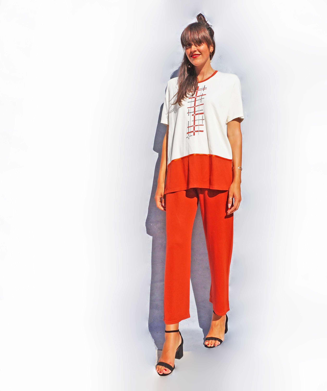 Vintage spiaggia pigiama 80s tailleur pantalone Jersey  e0d58566979