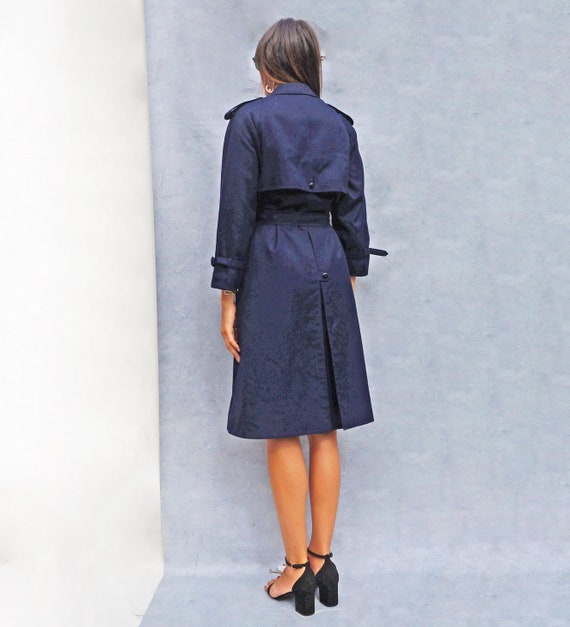 Navy Blue Cotton Trench Coat, Vintage 1980s Women… - image 7