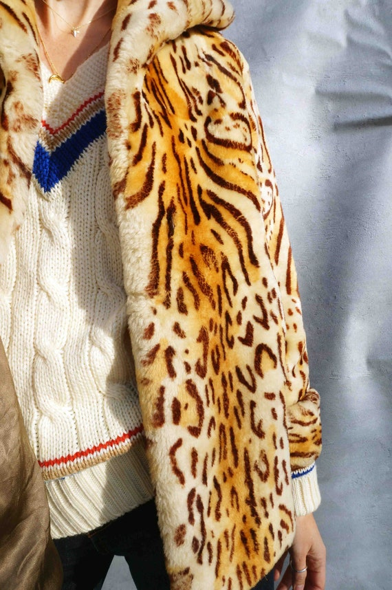 Boho Leopard Print Coat, Vintage Animal Print Fau… - image 3