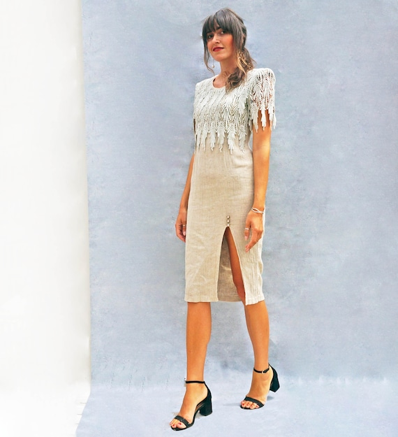 Vintage Linen + Lace 80s Day Dress, Beige Linen W… - image 6