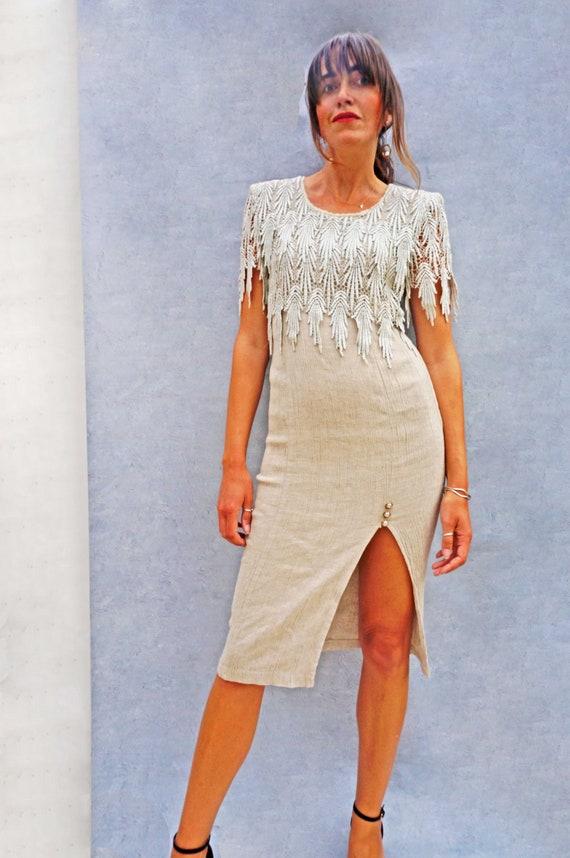 Vintage Linen + Lace 80s Day Dress, Beige Linen W… - image 9