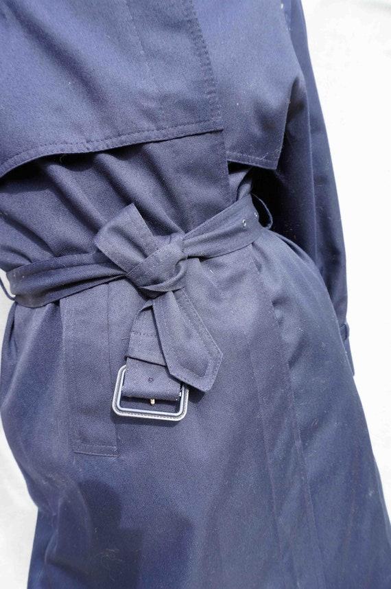 Navy Blue Cotton Trench Coat, Vintage 1980s Women… - image 9