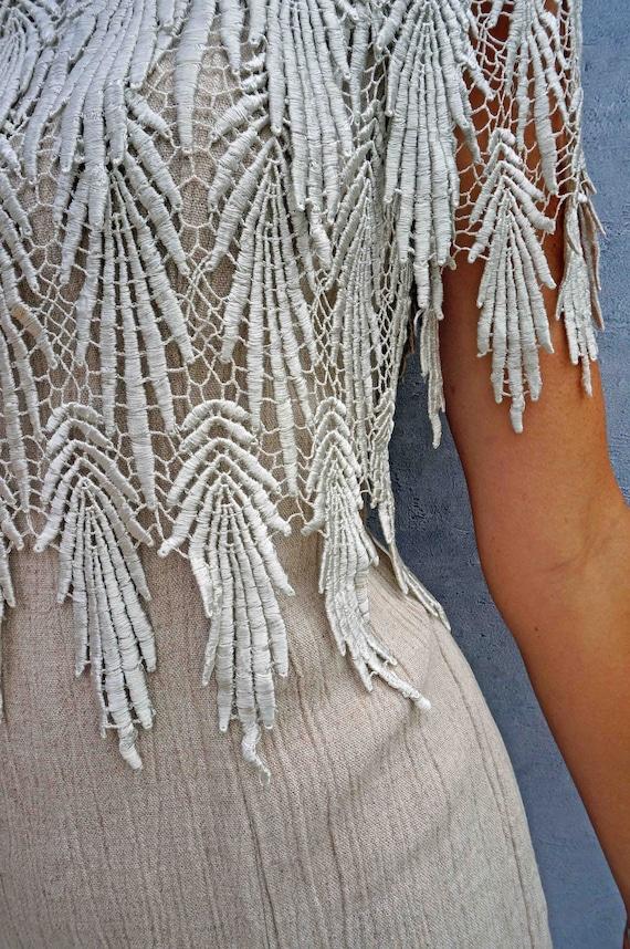 Vintage Linen + Lace 80s Day Dress, Beige Linen W… - image 7