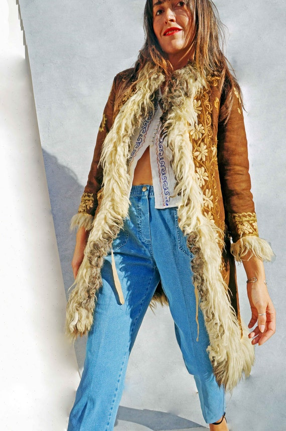 Vintage Embroidered Shearling Sheepskin Coat, 60s… - image 1