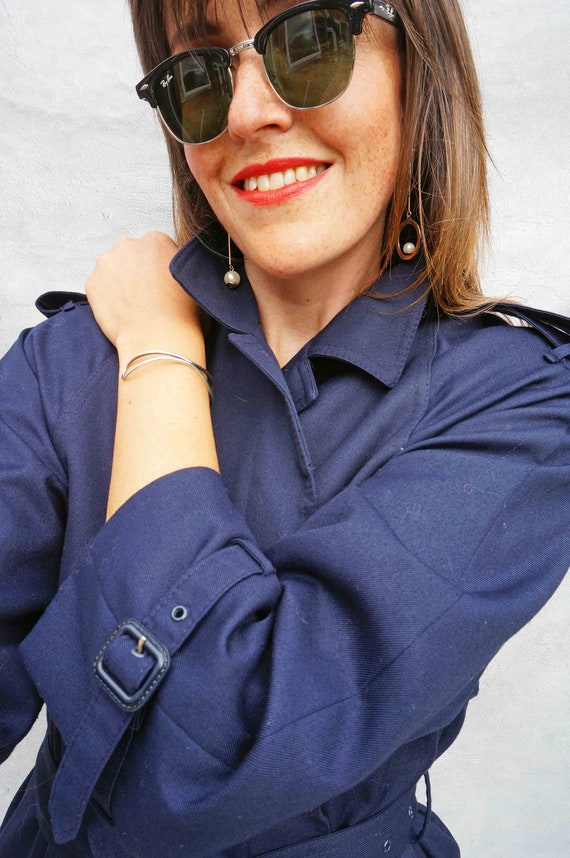 Navy Blue Cotton Trench Coat, Vintage 1980s Women… - image 6
