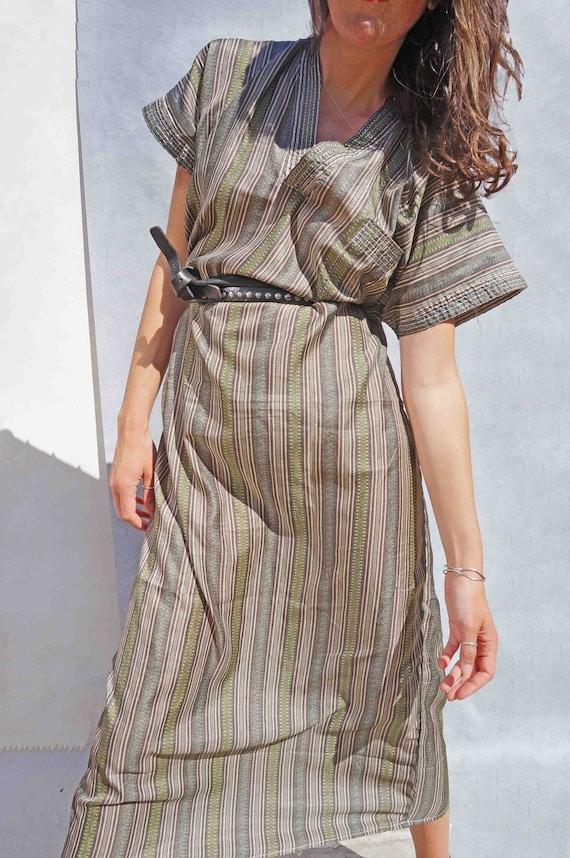 Vintage Long Striped Silk Kaftan Dress, Loose Maxi