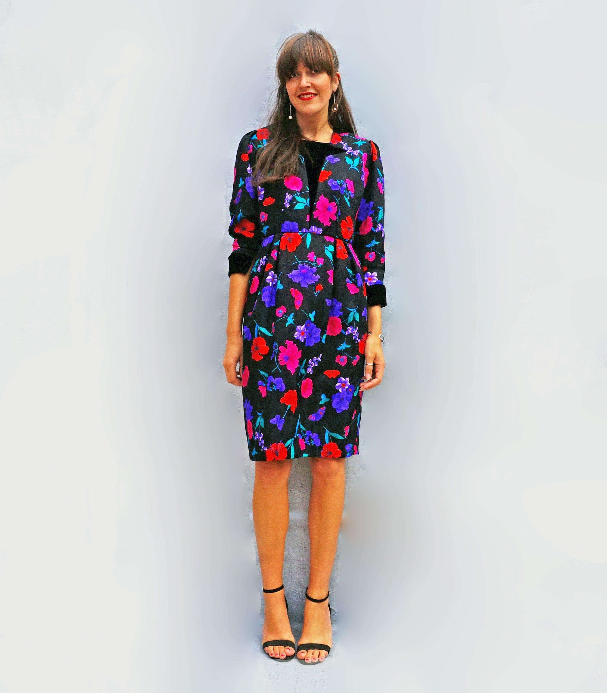 db545fb3e4e Lovely Black Floral Print Maxi - Long Sleeve Maxi Dress