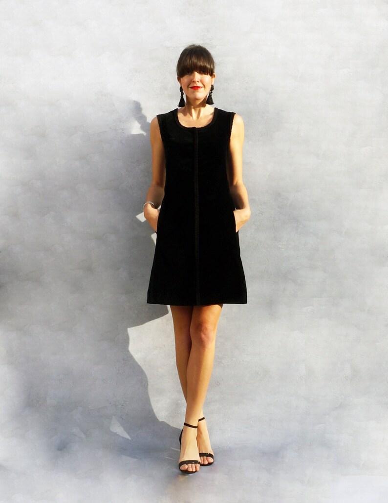 a4b570bd36d Black Velvet Dress 60s Mod Dress Velvet Mini Dress