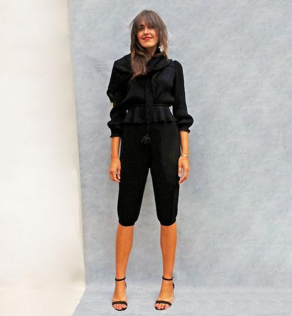Vintage 60s Black Wool Pant Suit, Women's Knitted