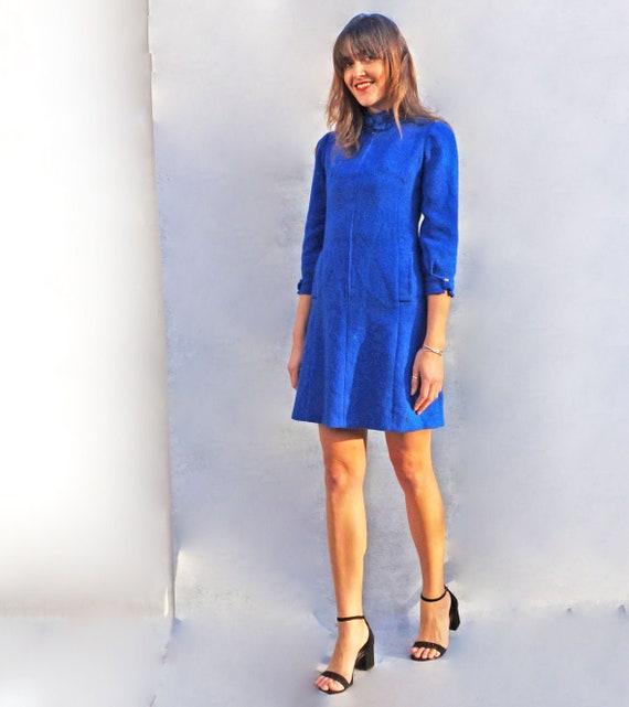 60s Cobalt Blue High Neck Dress, Vintage Harris Tw