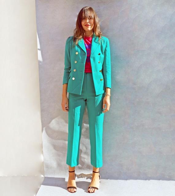 Women's Vintage Green Wool Pant Suit, 1980s Ladies