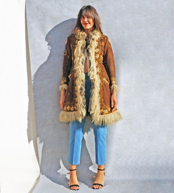 Vintage Embroidered Shearling Sheepskin Coat, 60s… - image 7